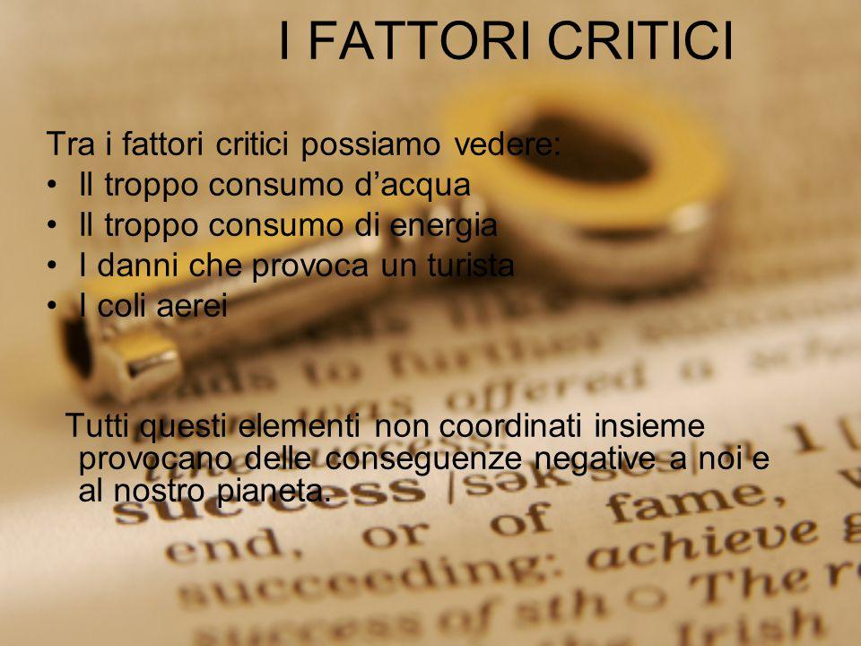I FATTORI CRITICI Tra i fattori critici possiamo vedere: