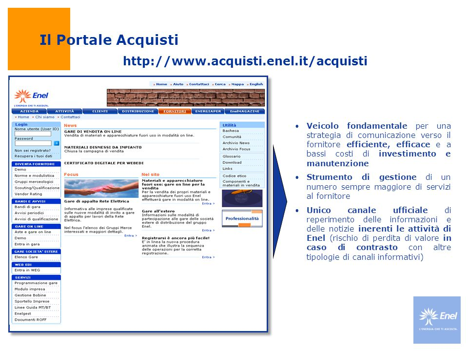 Il Portale Acquisti http://www.acquisti.enel.it/acquisti