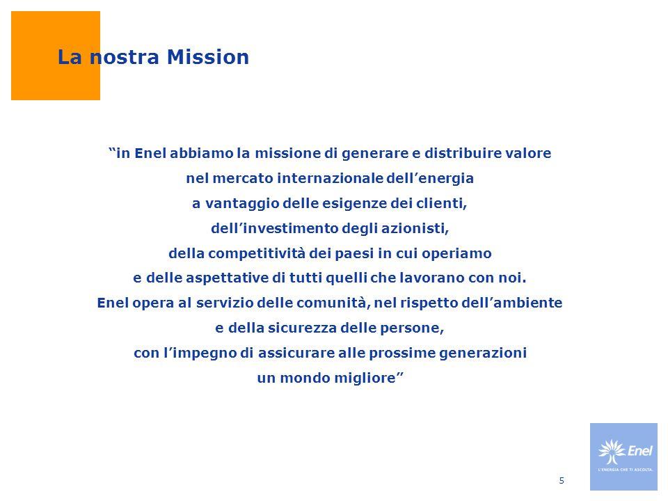 La nostra Mission in Enel abbiamo la missione di generare e distribuire valore. nel mercato internazionale dell'energia.