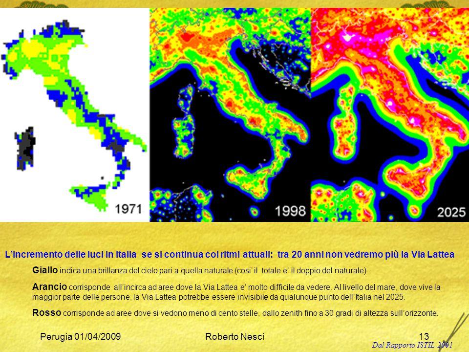 L'incremento delle luci in Italia se si continua coi ritmi attuali: tra 20 anni non vedremo più la Via Lattea