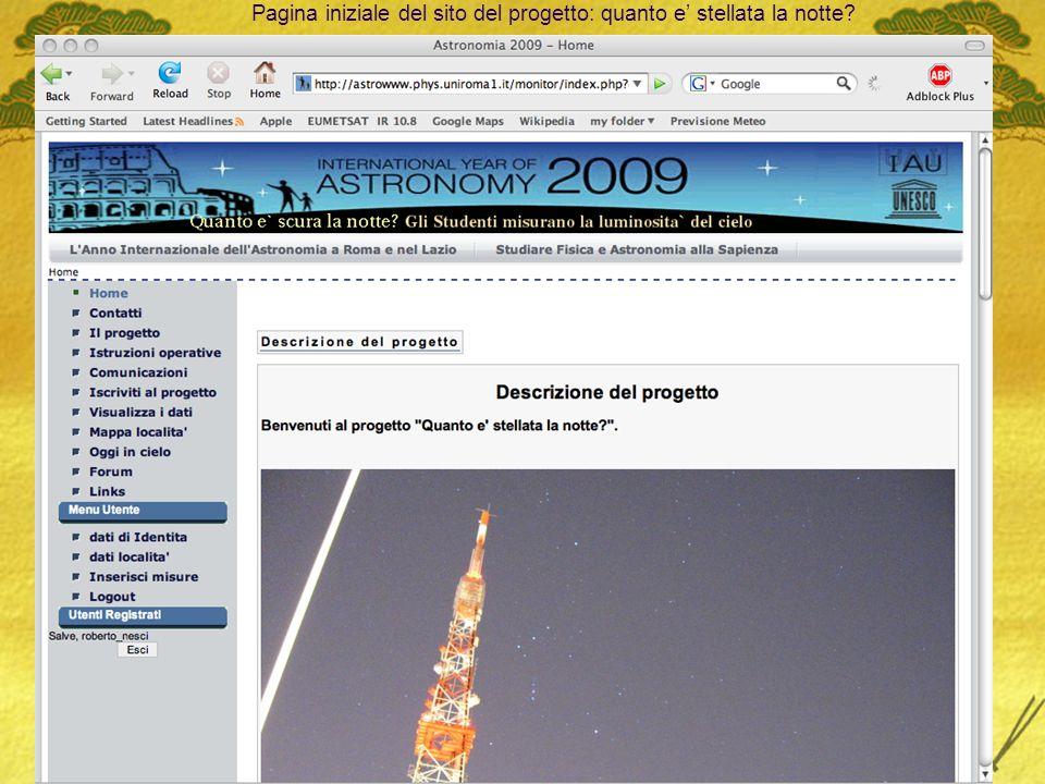 Pagina iniziale del sito del progetto: quanto e' stellata la notte
