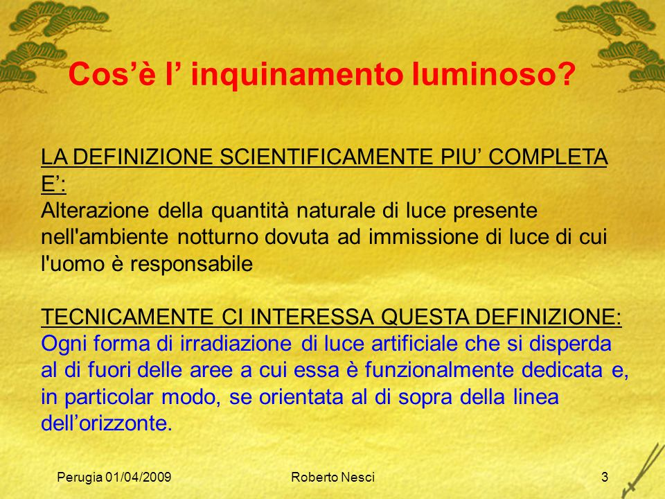Cos'è l' inquinamento luminoso