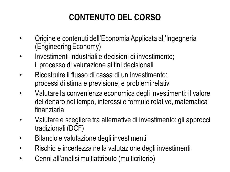 CONTENUTO DEL CORSO Origine e contenuti dell'Economia Applicata all'Ingegneria (Engineering Economy)