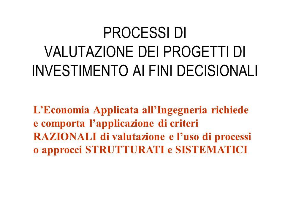 PROCESSI DI VALUTAZIONE DEI PROGETTI DI INVESTIMENTO AI FINI DECISIONALI