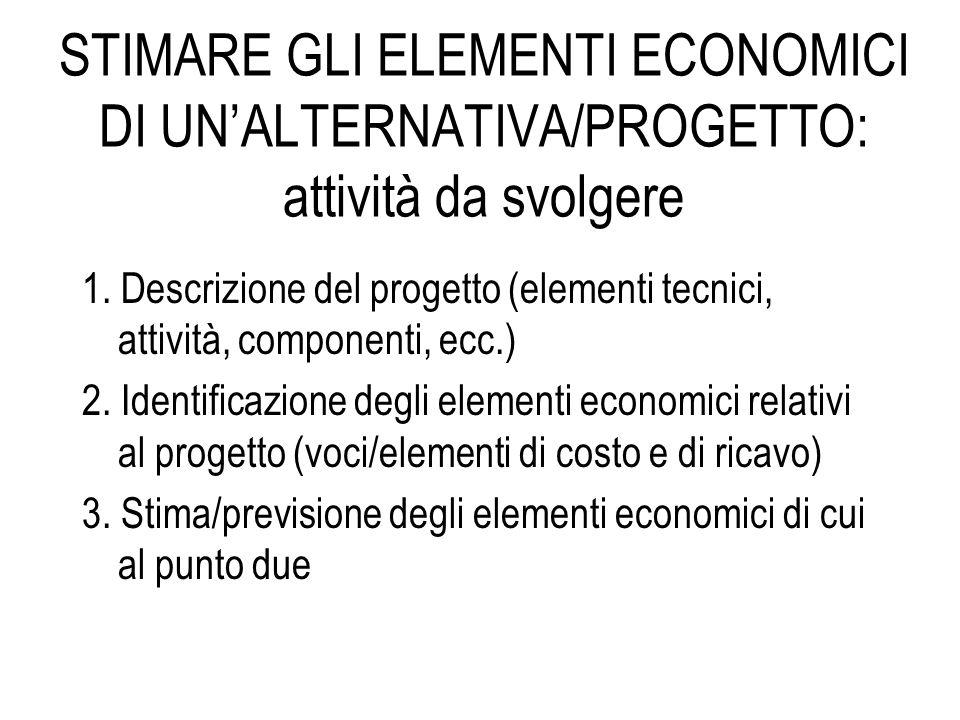 STIMARE GLI ELEMENTI ECONOMICI DI UN'ALTERNATIVA/PROGETTO: attività da svolgere