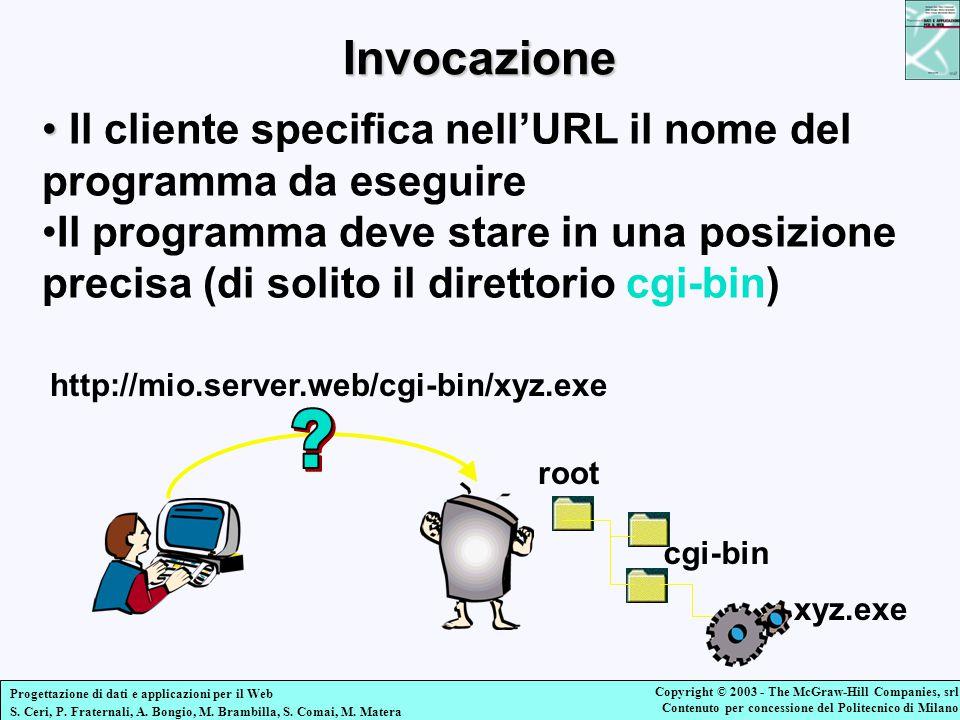 Invocazione Il cliente specifica nell'URL il nome del programma da eseguire.