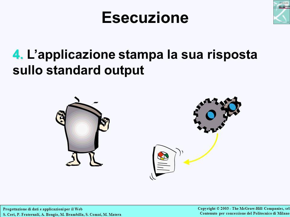 Esecuzione 4. L'applicazione stampa la sua risposta sullo standard output