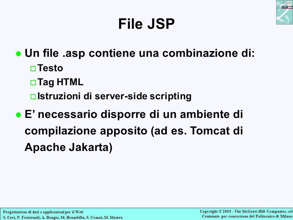 File JSP Un file .asp contiene una combinazione di: