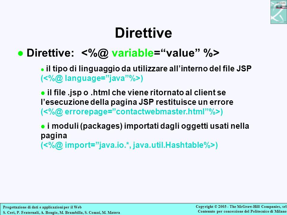 Direttive Direttive: <%@ variable= value %>