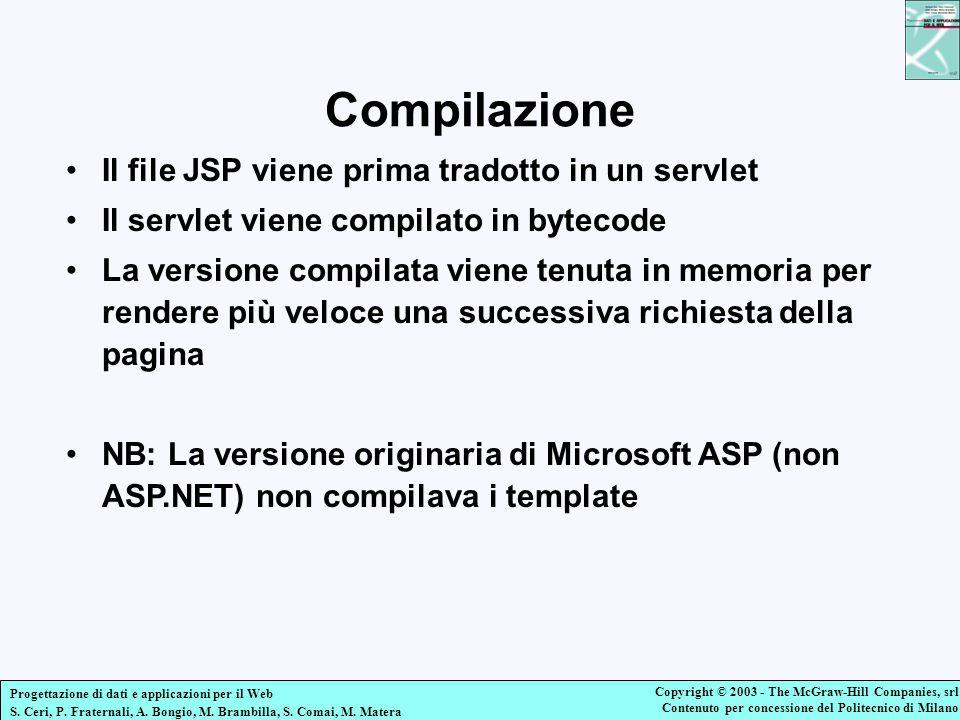Compilazione Il file JSP viene prima tradotto in un servlet