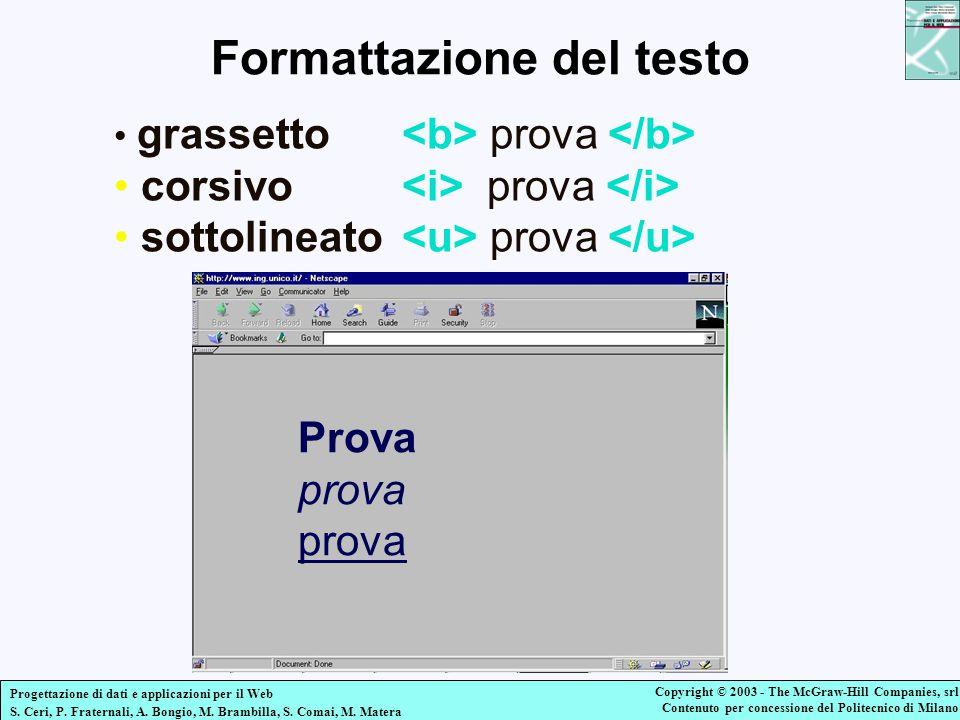 Formattazione del testo