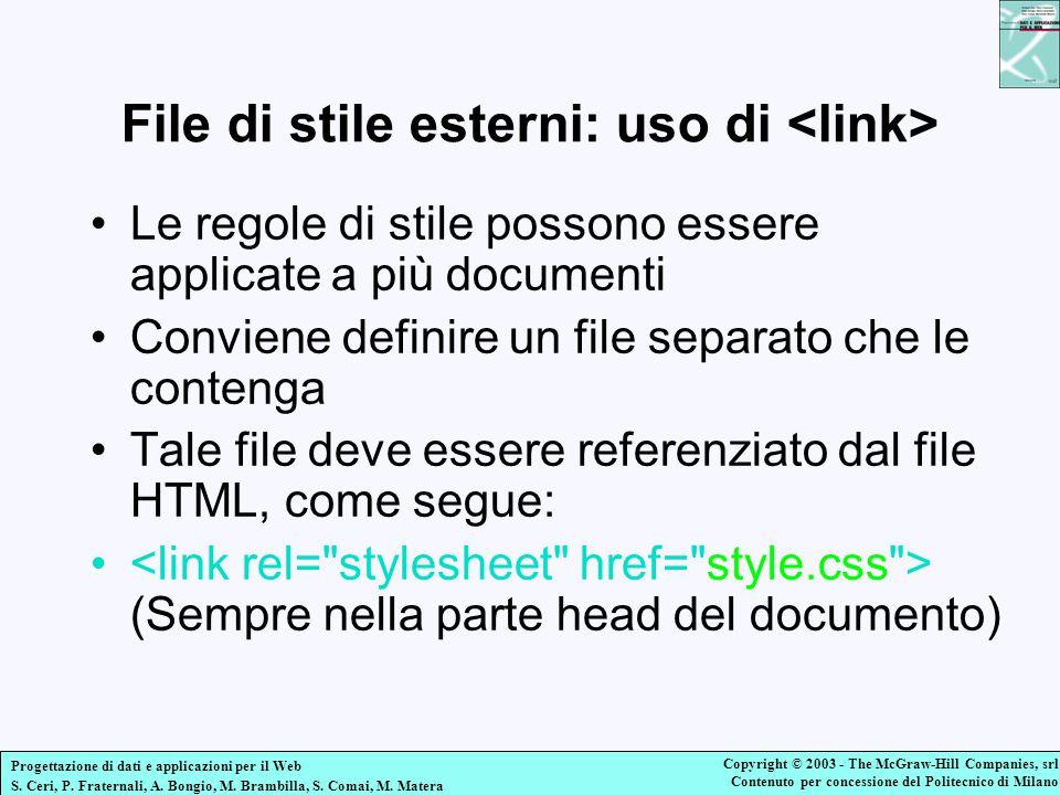 File di stile esterni: uso di <link>