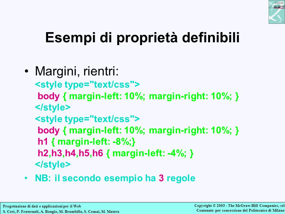 Esempi di proprietà definibili