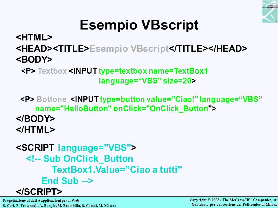 Esempio VBscript <HTML>