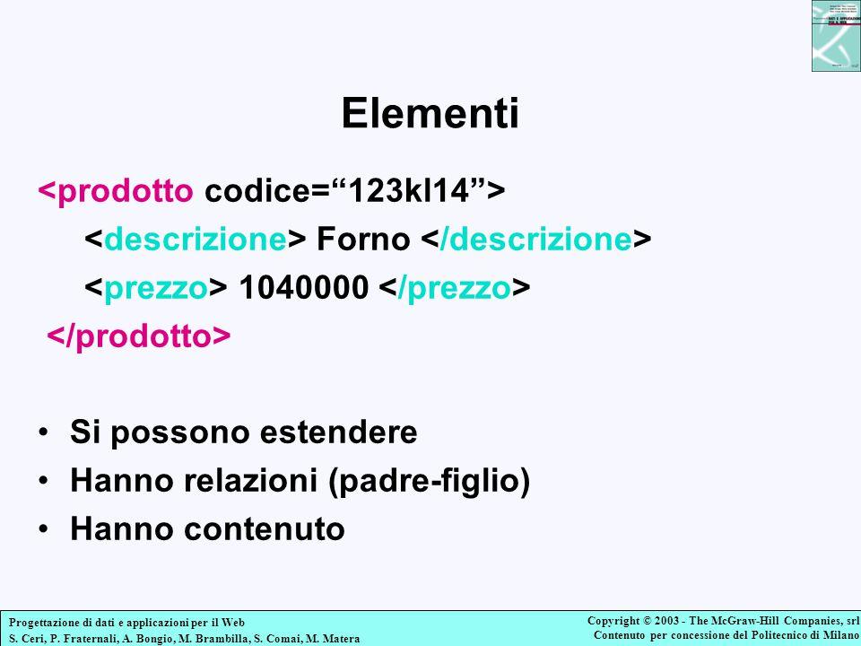 Elementi <prodotto codice= 123kl14 >