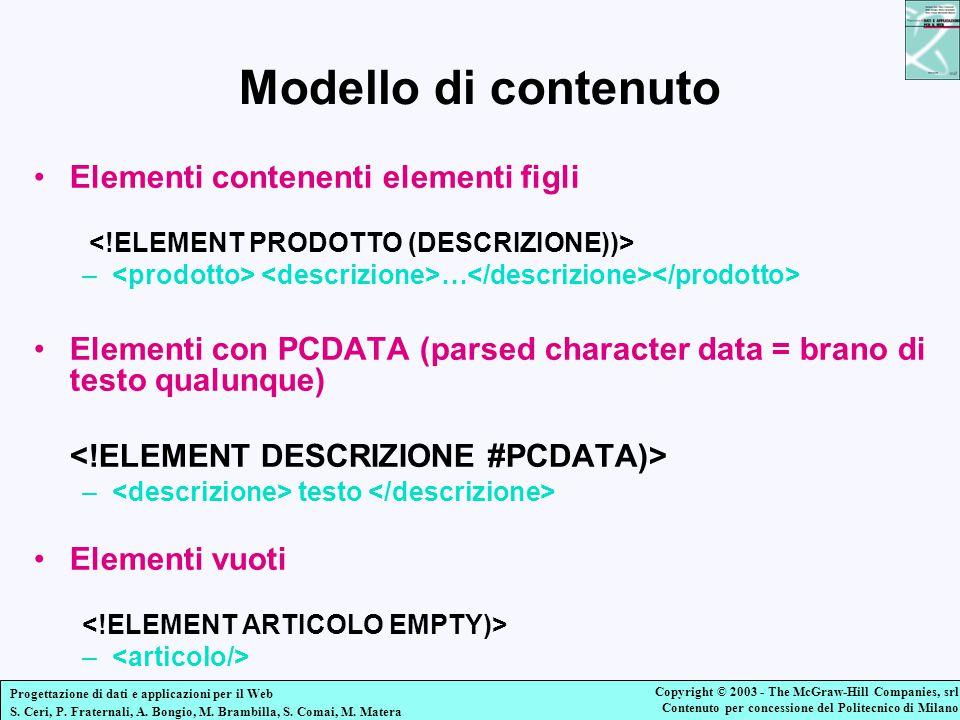 Modello di contenuto Elementi contenenti elementi figli