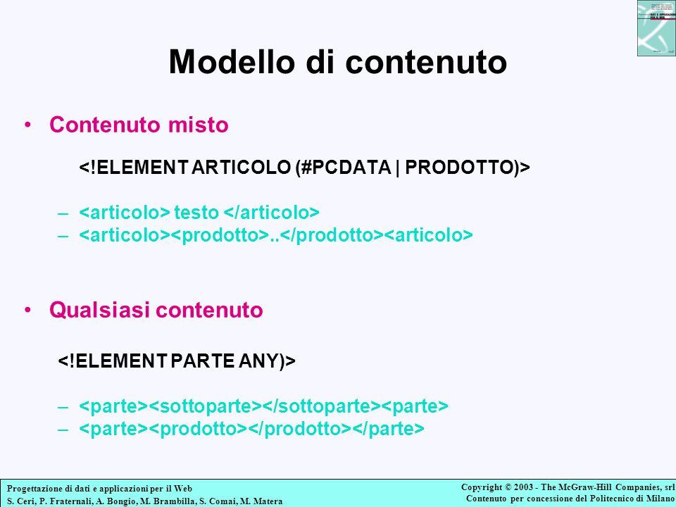 Modello di contenuto Contenuto misto Qualsiasi contenuto