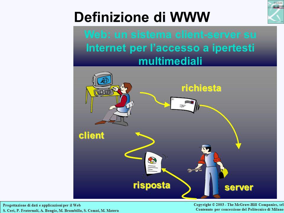Definizione di WWW Web: un sistema client-server su Internet per l'accesso a ipertesti multimediali.
