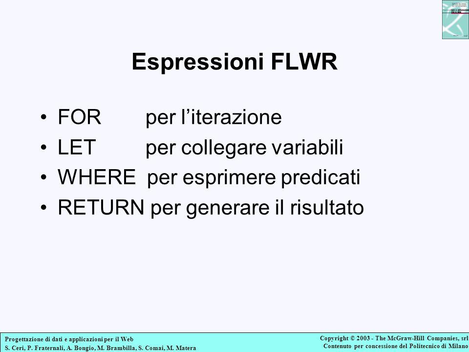 Espressioni FLWR FOR per l'iterazione LET per collegare variabili
