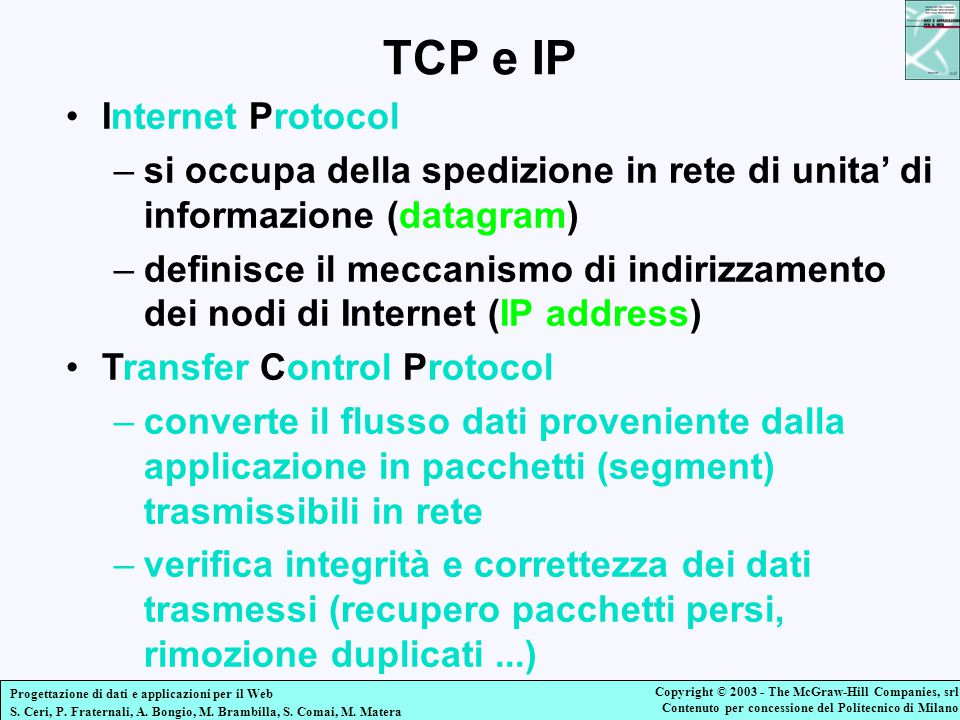 TCP e IP Internet Protocol