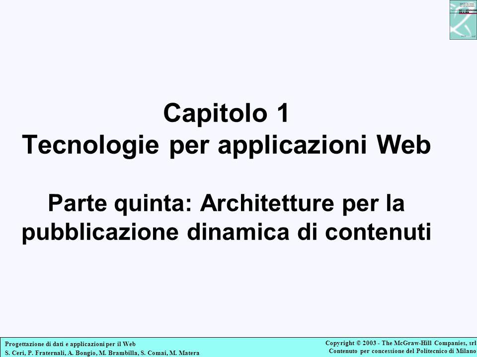 Capitolo 1 Tecnologie per applicazioni Web Parte quinta: Architetture per la pubblicazione dinamica di contenuti