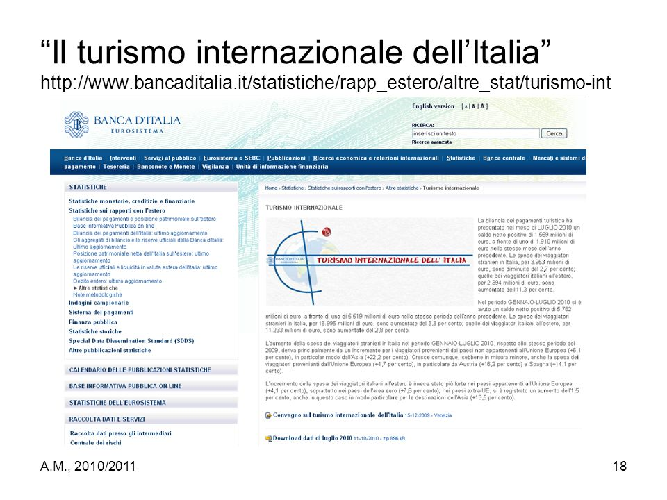 Il turismo internazionale dell'Italia http://www. bancaditalia