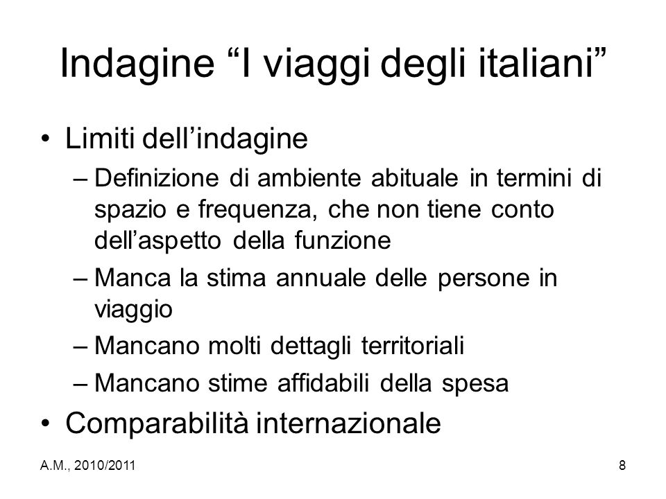 Indagine I viaggi degli italiani