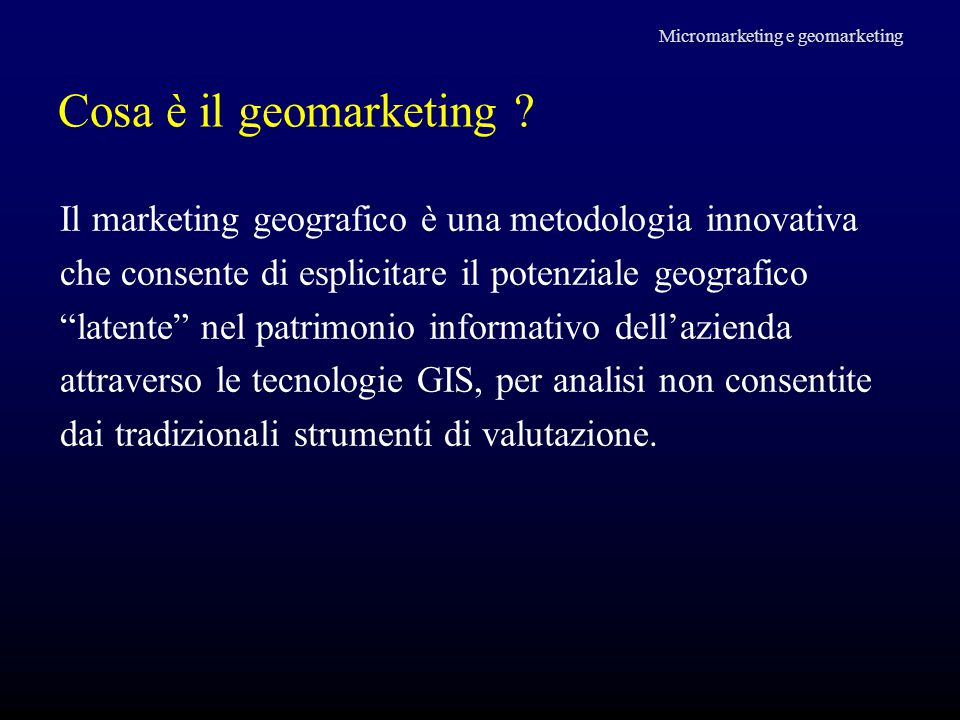 Micromarketing e geomarketing