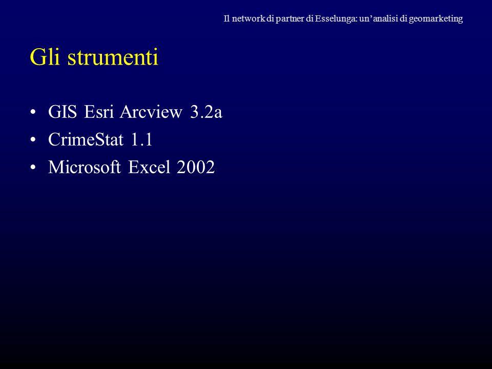 Gli strumenti GIS Esri Arcview 3.2a CrimeStat 1.1 Microsoft Excel 2002