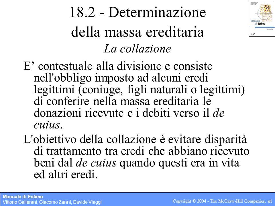 18.2 - Determinazione della massa ereditaria La collazione