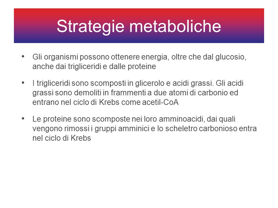 Strategie metaboliche
