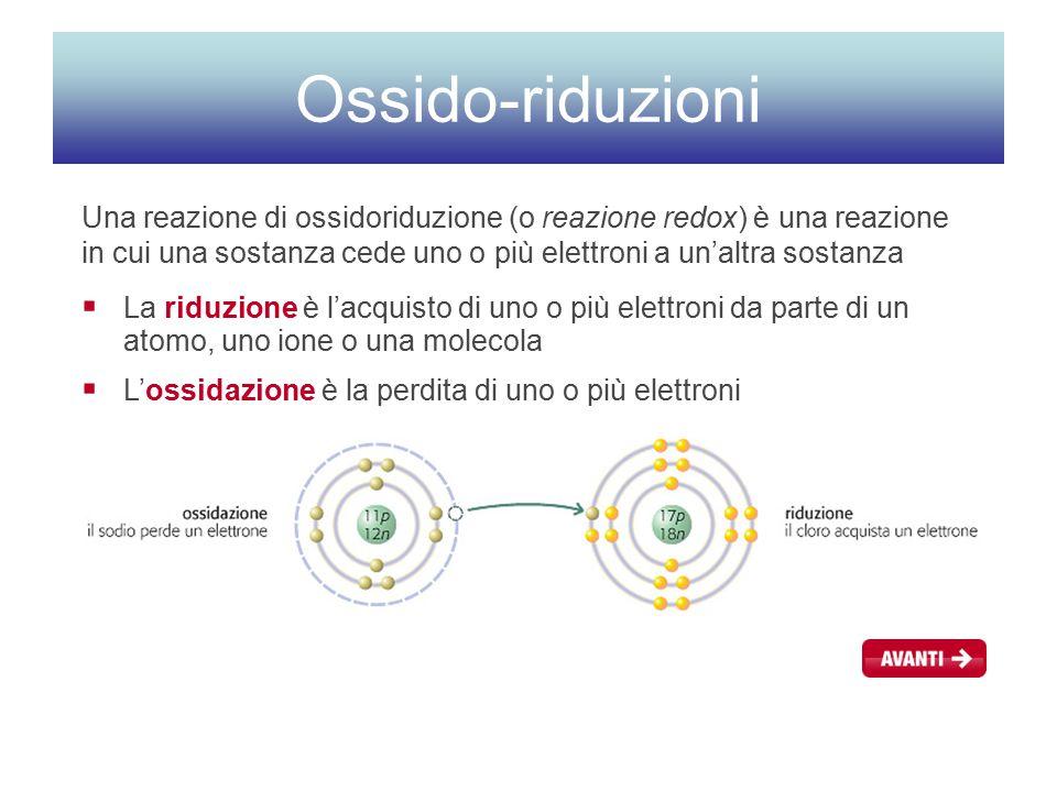 Ossido-riduzioni Una reazione di ossidoriduzione (o reazione redox) è una reazione in cui una sostanza cede uno o più elettroni a un'altra sostanza.