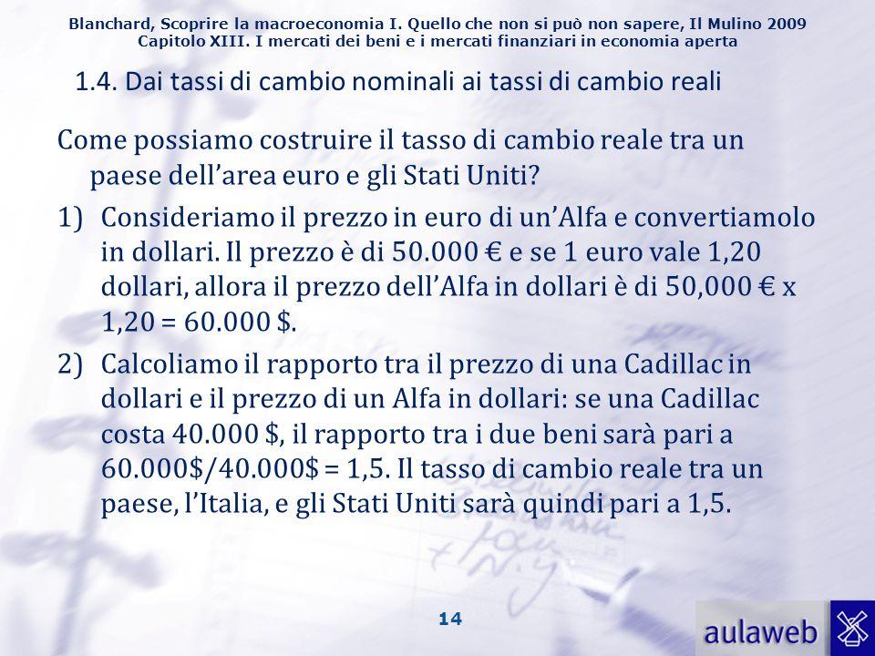 1.4. Dai tassi di cambio nominali ai tassi di cambio reali