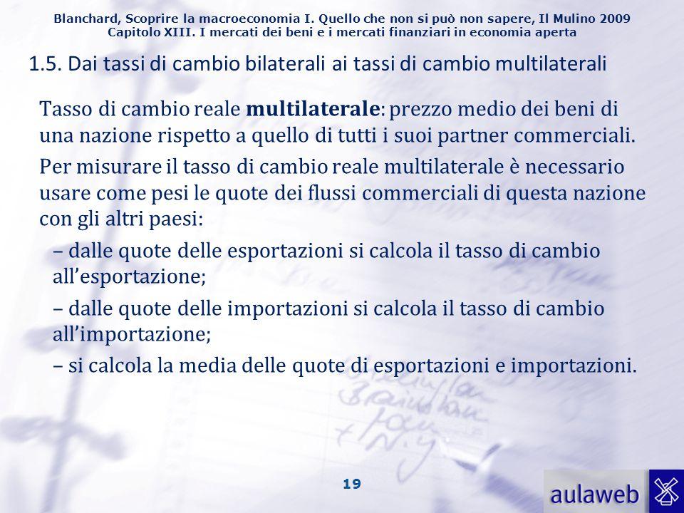 1.5. Dai tassi di cambio bilaterali ai tassi di cambio multilaterali