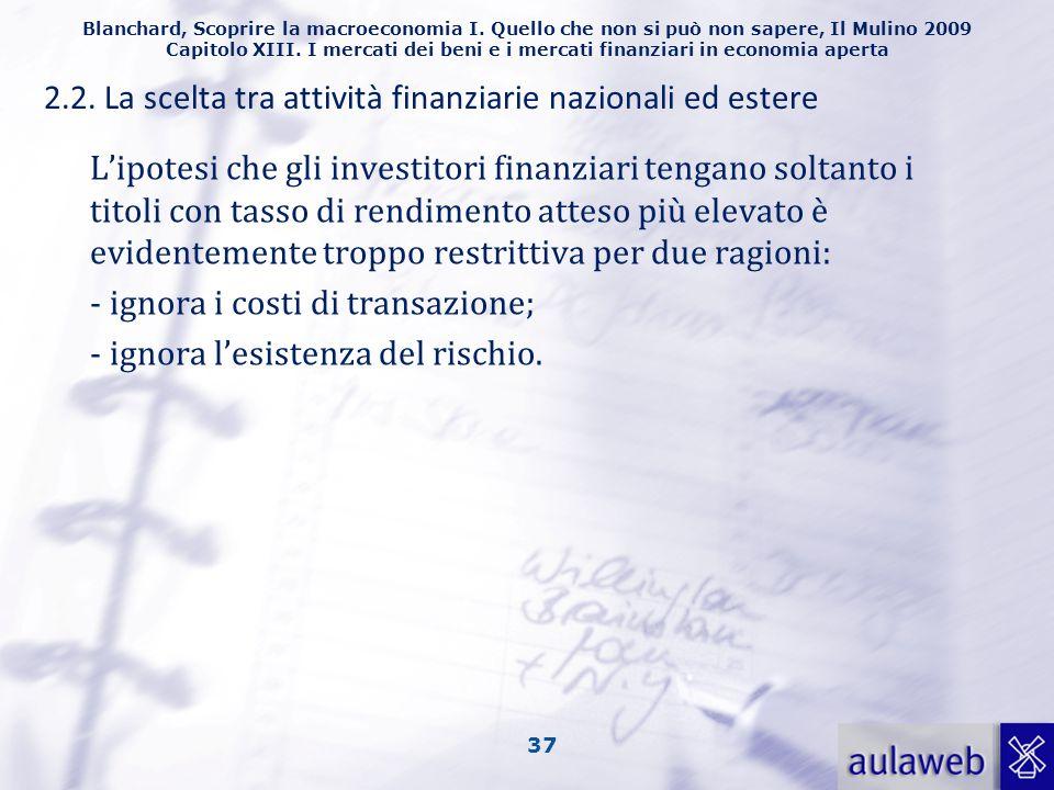 2.2. La scelta tra attività finanziarie nazionali ed estere