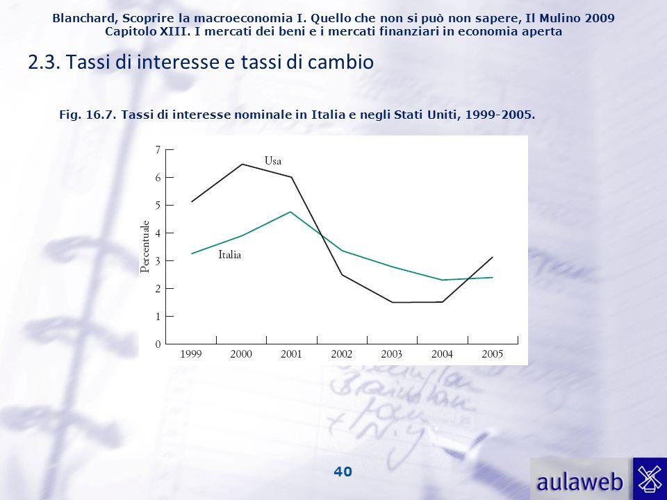 2.3. Tassi di interesse e tassi di cambio