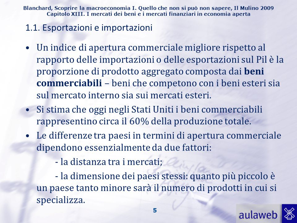 1.1. Esportazioni e importazioni