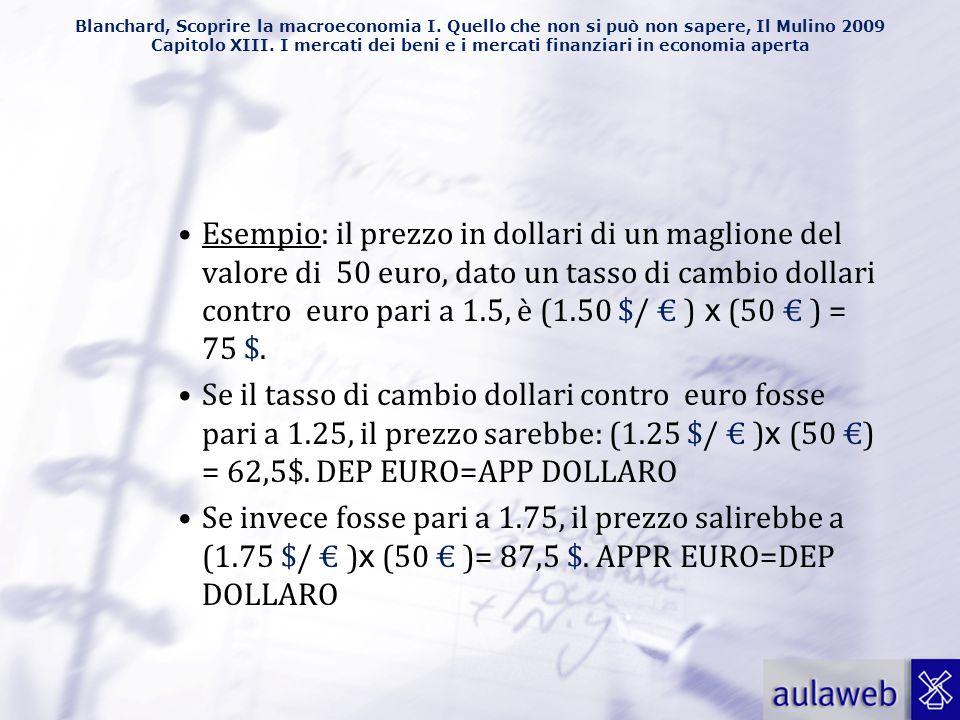 Esempio: il prezzo in dollari di un maglione del valore di 50 euro, dato un tasso di cambio dollari contro euro pari a 1.5, è (1.50 $/ € ) x (50 € ) = 75 $.