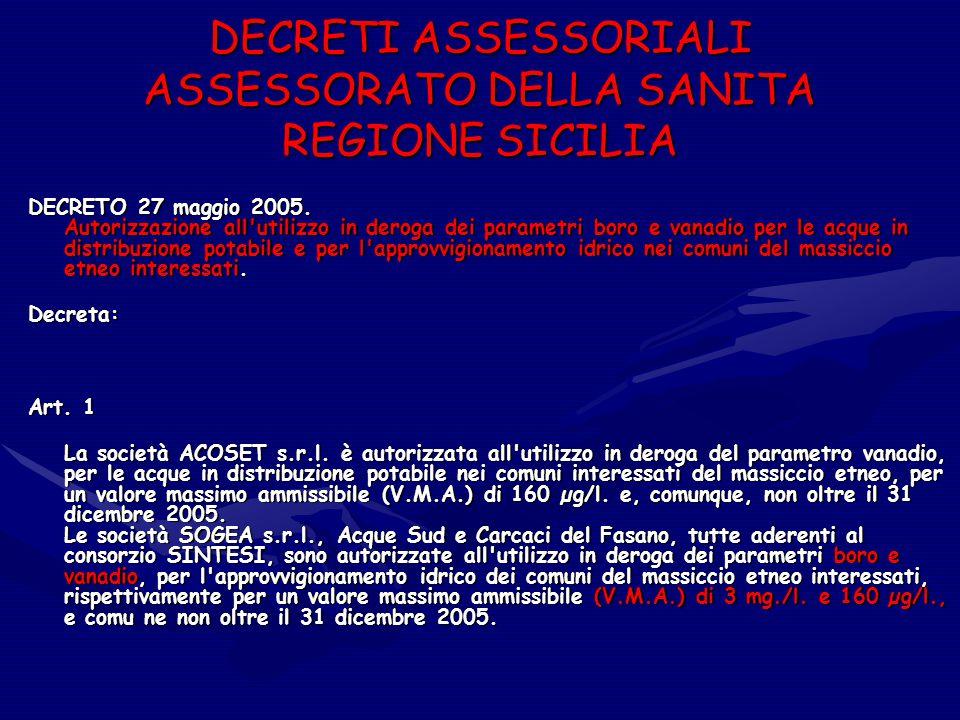 DECRETI ASSESSORIALI ASSESSORATO DELLA SANITA REGIONE SICILIA