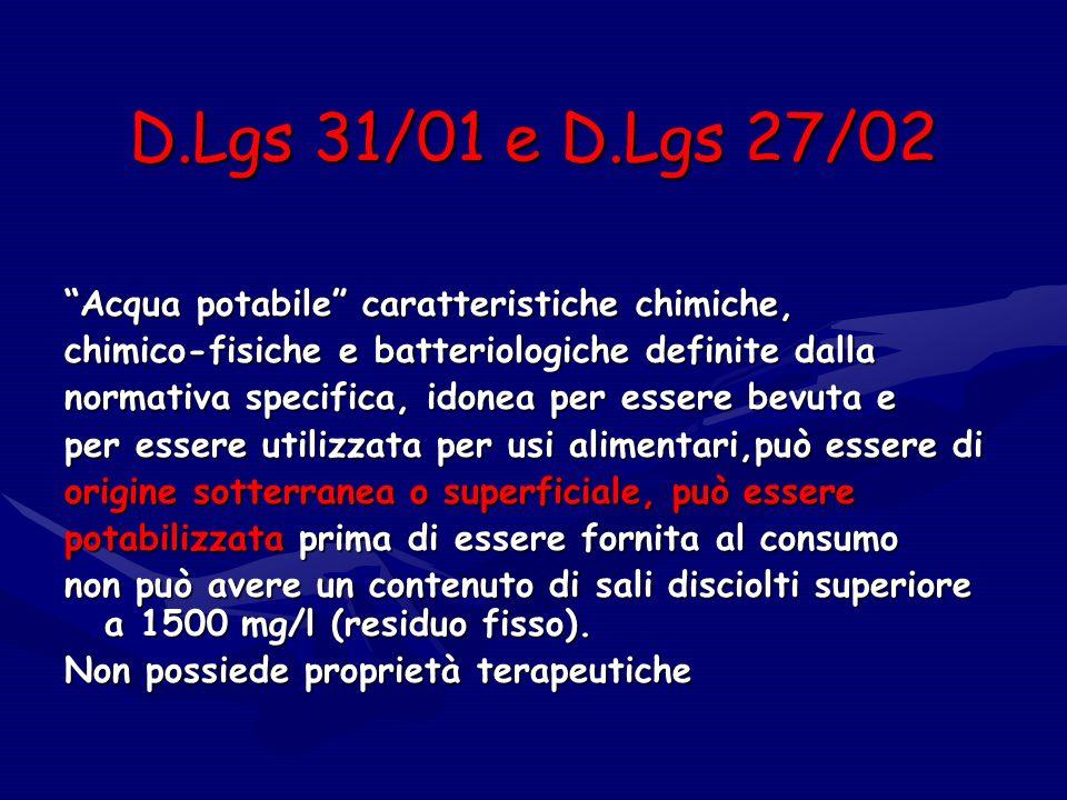 D.Lgs 31/01 e D.Lgs 27/02 Acqua potabile caratteristiche chimiche,