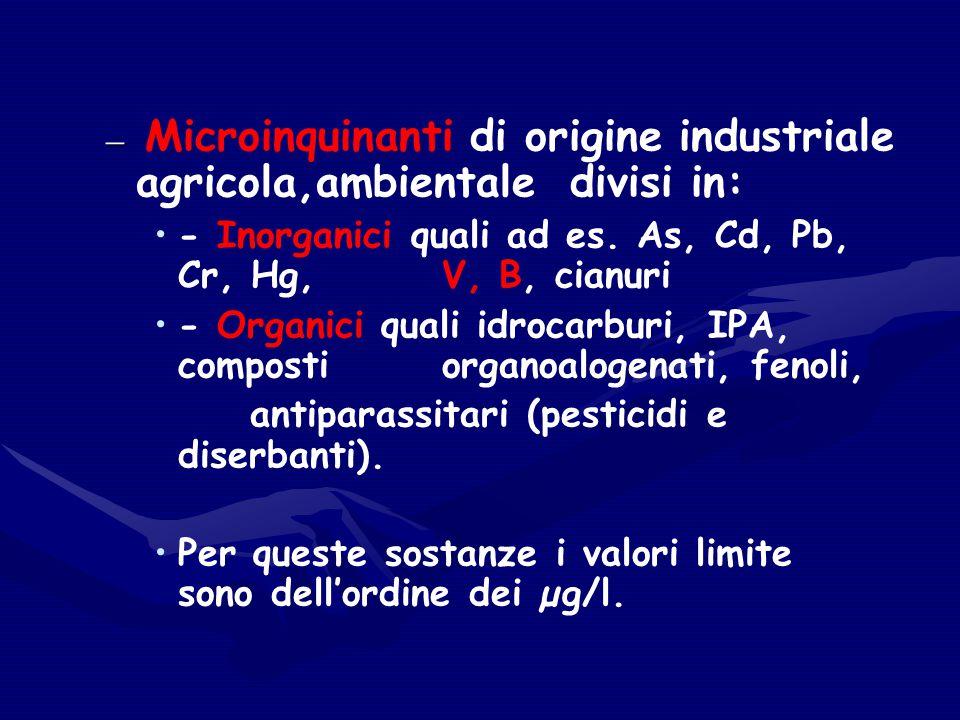 Microinquinanti di origine industriale agricola,ambientale divisi in:
