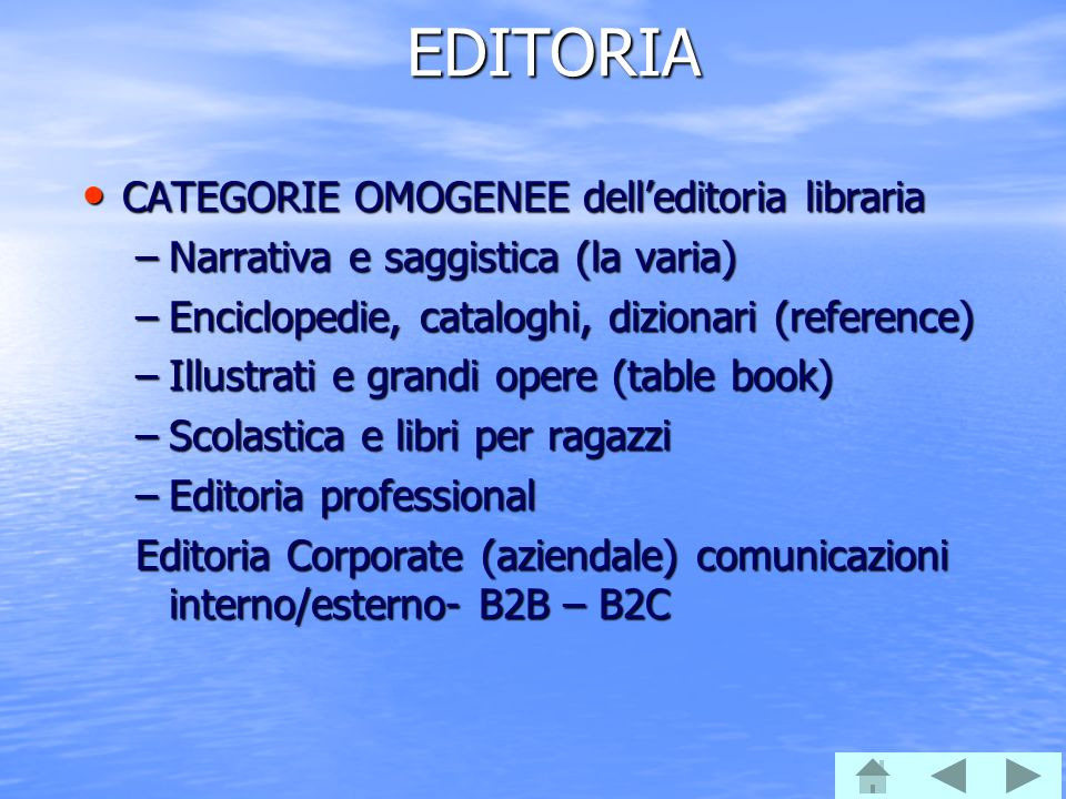EDITORIA CATEGORIE OMOGENEE dell'editoria libraria