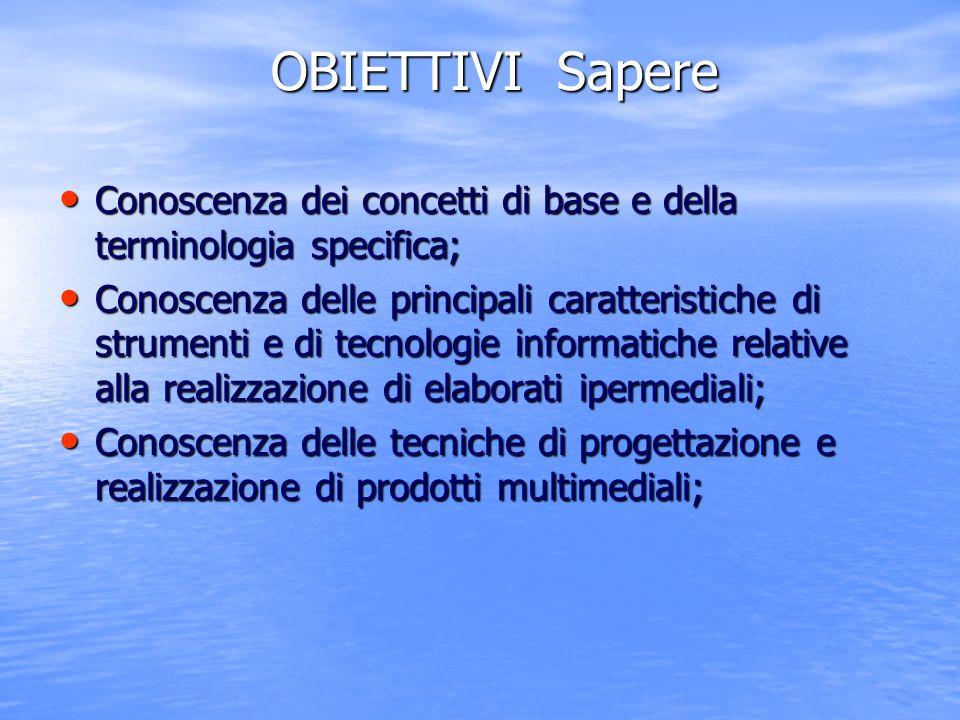 OBIETTIVI Sapere Conoscenza dei concetti di base e della terminologia specifica;