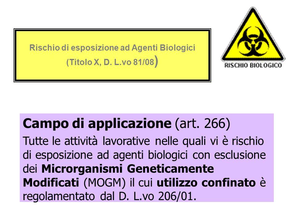 Rischio di esposizione ad Agenti Biologici (Titolo X, D. L.vo 81/08)