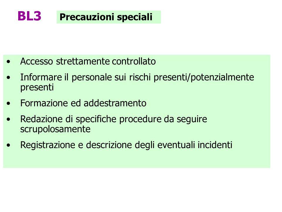 BL3 Precauzioni speciali Accesso strettamente controllato