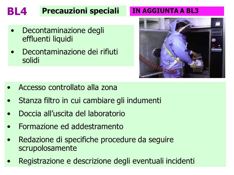 BL4 Precauzioni speciali Decontaminazione degli effluenti liquidi