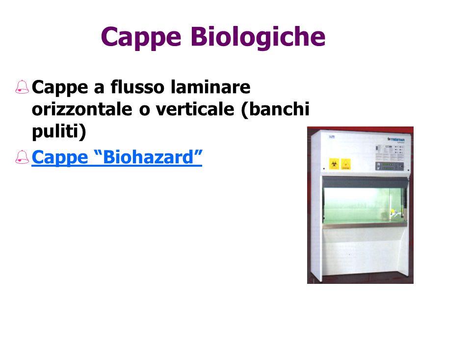 Cappe Biologiche Cappe a flusso laminare orizzontale o verticale (banchi puliti) Cappe Biohazard