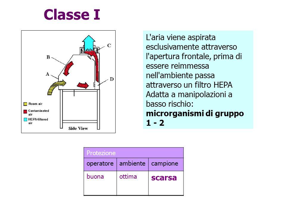Classe I L aria viene aspirata esclusivamente attraverso l apertura frontale, prima di essere reimmessa nell ambiente passa attraverso un filtro HEPA.