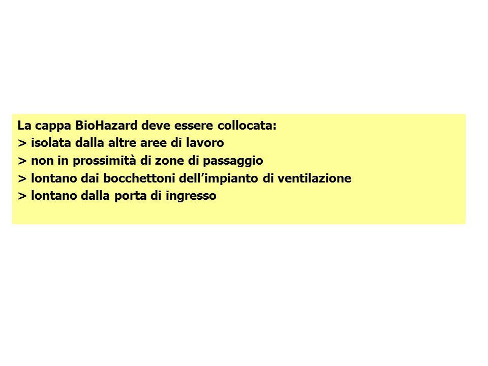 La cappa BioHazard deve essere collocata: > isolata dalla altre aree di lavoro > non in prossimità di zone di passaggio > lontano dai bocchettoni dell'impianto di ventilazione > lontano dalla porta di ingresso