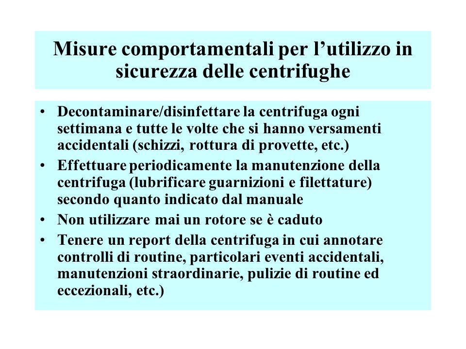 Misure comportamentali per l'utilizzo in sicurezza delle centrifughe